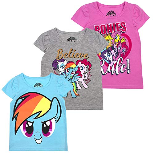 My Little Pony Girls' T-Shirt (Pack of 3) 2T Grey