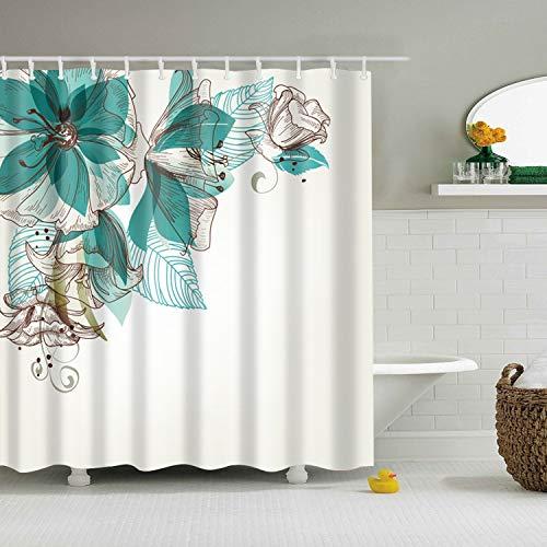 XCBN Cortina de baño impermeable con ganchos, para decoración de baño, tamaño A2, 150 x 180 cm
