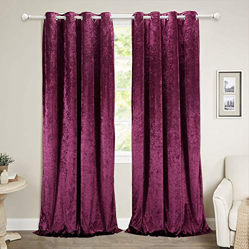 """Best Season 100% Blackout Velvet Curtain Panels with Black Liner,Extra Thick Insulated Grommet Drapes/Draperies for Kitchen/Bedroom/Windows (2 Panels,52"""" x 108"""", Purple Color)"""