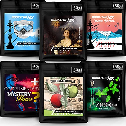 Hookah Flavors Tobacco Free and Nicotine Free. 6 Different Exotic Shisha Flavors. Herbal Molasses by Hook IT UP. (Pack of 6) 300g 10.5oz Total