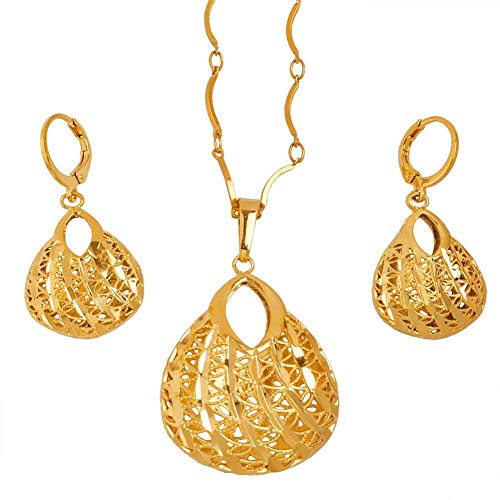 NCDFH Gold Color for Women Ethnic Jewellery Gifts t Necklace Earrings Sets #J0167 60cm
