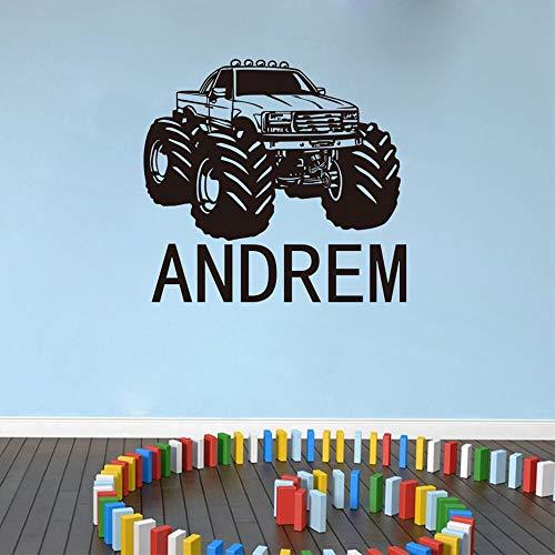 Etiqueta de la pared del nombre de Monster Truck Boy Wall Monster Truck Nombre de la personalidad Etiqueta de la pared creativa Decoración Papel tapiz A4 40x36cm