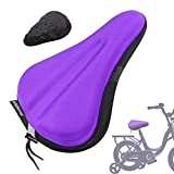 ANZOME Kids Gel Bike Seat Cushion Cover for Boys & Girls Bicycle Seats, 9'x6' Memory Foam Child Bike Seat Cover Extra Soft Small Bicycle Saddle Pad with Water & Dust Resistant Cover-Purple