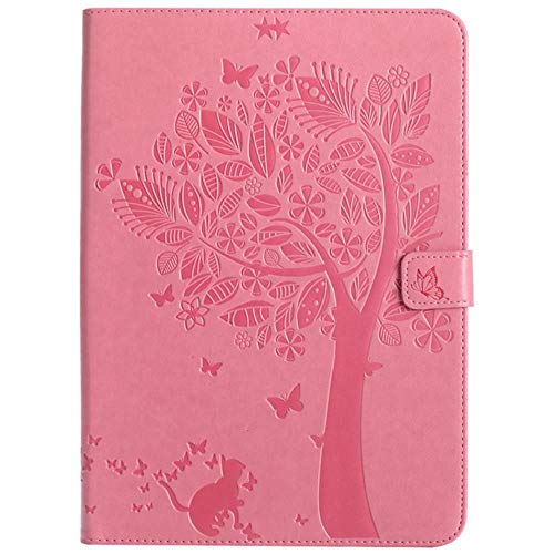 Cartoon Cat Tree Print Stand Card Holder Tpu + Pu Leather Magnet Smart Cover Case For Apple Ipad Mini 4 Mini4 + Film + Pen,Pink