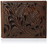 Ariat Men's Tonal Brown Floral Inlay Trifold Wallet, One Size