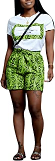 Ophestin Womens Casual 2 Piece Outfits Letter Print Snake T Shirt Shorts Set