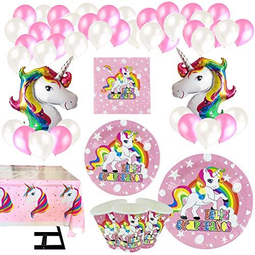 Vajilla Papel Cumpleaños Unicornio Rosa 16 Invitados,101
