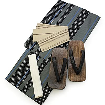 Japanese Men's kimono Dress Robe Flip Flops Obi Set Cotton.
