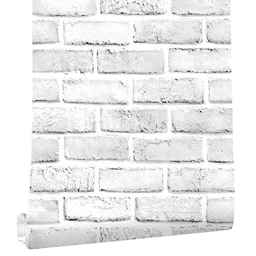 "Cohoo Home White Gray Peel and Stick Wallpaper Brick Contact Paper 120"" ×18"" Faux 3D Brick Wall Paper White Grey Self Adhesive Wallpaper Removable Wallpaper Brick Backsplash Stick and Peel Vinyl Film"