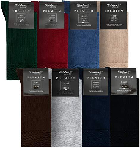 Rainbow Socks - Hombre Elegantes Calcetines Antibacterianos con Iones de Plata - 8 Pares - Botella Verde Rojo Oscuro Jeans de Colores Beige Marrón Gris Claro Azul Oscuro Negro - Talla 42-43