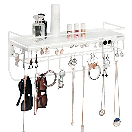 JackCubeDesign Wall Mounted Classic White Iron Designer Made Cosmetics Storage Shelf w/Necklace Jewelry Organizer Shelf Earrings Holder – :MK238B