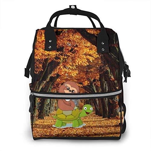 GXGZ Autumn Dead Leaf Road Mochila impermeable para pañales, compartimento con dos bolsillos y ocho de almacenamiento, elegantes y duraderas bolsas de lactancia para bebés para padres