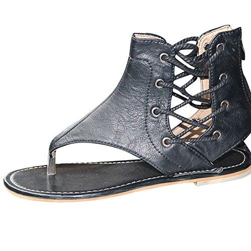 WWricotta Women Pinch Flat-Bottomed Roman Sandals Strappy Sandals Ankle Flat Straps Shoes(Schwarz,39)