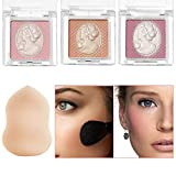 Cheek Kiss Face Blush Makeup - Cheekers Blendable & Buildable Powder Blush, Lightweight Blusher and Cheek Color (3 Shades + 1 Makeup Sponge)