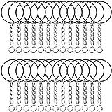 ruiyoupin Llavero cadena de 25 mm de diámetro, llavero, anillos separadores con cadena de eslabones para llaves, fabricación de joyería, proyectos de manualidades