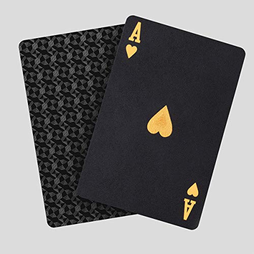 Waterproof Playing Cards, Plastic Playing Cards, Deck of Cards, Gift Poker Cards (Black Diamond Cards)