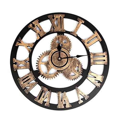mubgo Wanduhren 40Cm Vintage Clock European Retro Handmade 3D Gear Wall Clock Home Living Room Decorative Clock Disc Gear Wall Clock