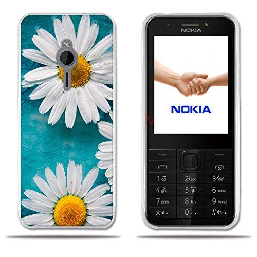 FUBAODA für Nokia 230 Hülle, [Zwei weiße Chrysantheme] Transparente Silizium Clear TPU Design Clear Matt Soft Gummi Silikon Abdeckung Telefon Fall Schutz für Nokia 230