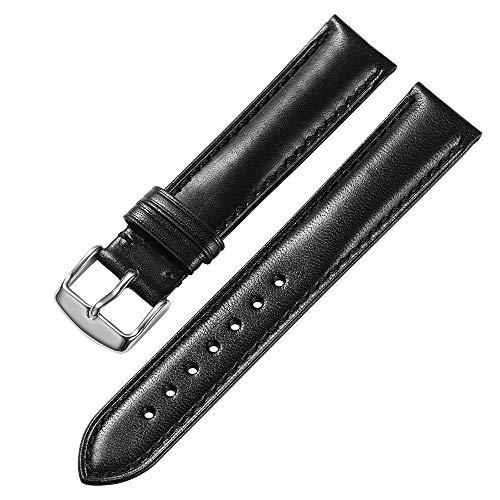iStrap 18 mm 19mm 20 mm 21mm 22 mm echt Leder Uhrenarmband Armband gepolstert Kalbsleder Gurt Edelstahl Schnalle Super Weich