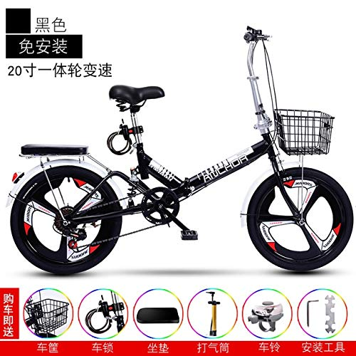 Mdsfe Bicicletta da Uomo Adulta Ultraleggera Portatile a velocità variabile da 6 Pollici per Bicicletta Pieghevole da 6 velocità, per Adulto,variabile A, 52 cm (175 cm-180 cm)
