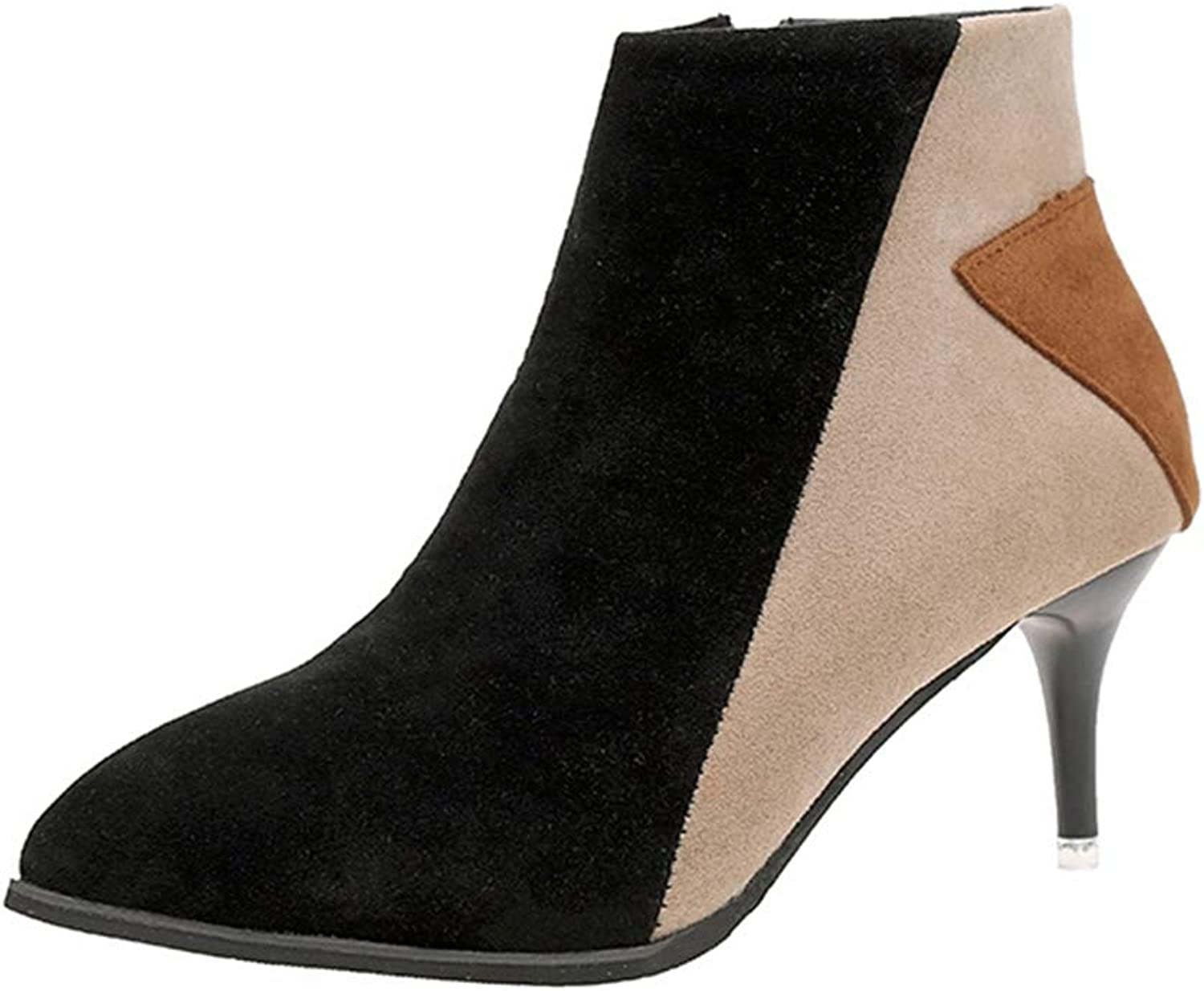 York Zhu Women's Short Boots,Pointed Toe Faux Suede High Heels Ankle Boots