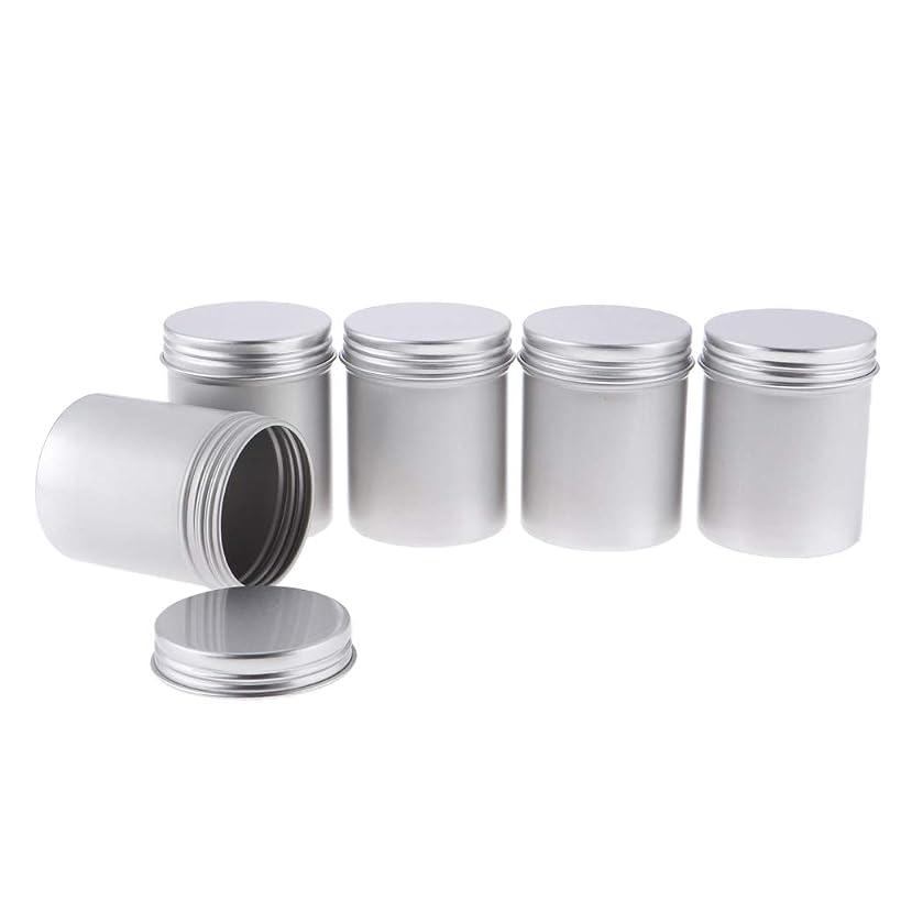 平等社会科成功したToygogo 80mlの金属の錫の銀のアルミニウム鍋は化粧品、スパイス、軟膏、ビード、ボタン5Pcsのための堅く密封されたねじ上カバーが付いている空の円形の容器を震動させます