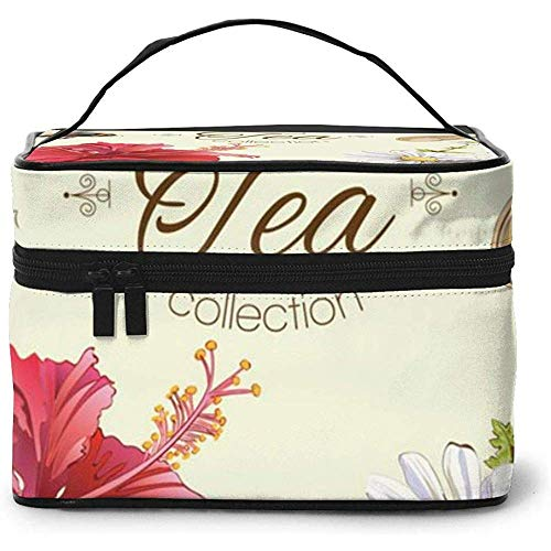 Herbal Tea Portable Ladies Travel Cosmetic Case Bag Storage Makeup Pouch Multi-Function Wash Grand Capacity Makeup Bag