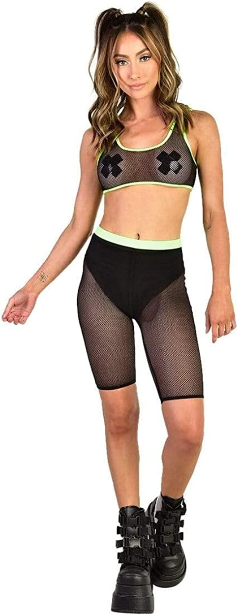 iHeartRaves Womens High Waisted Spandex Biker Shorts