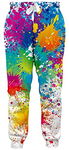 Goodstoworld Mens Jogger Pants Gay Pride Sweatpants 3D Paint Splatter Graphic Sportswear Athletic Pants Casual Hipster Running Active Cuffed Pants for Women Man, Large
