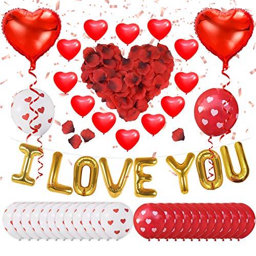 ASANMU Kit de decoración de San Valentín, 1000 Piezas Pétalos de Rosa+Globos de Látex+Foil Globos de Corazón+Rojo Globos Kit Romántico de Decoración para Bodas Cumpleaños San Valentín Aniversarios