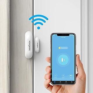 Koogeek Sensor de Puerta Wifi Notificación Inteligente de APP Control Remoto funciona con Alexa/Google Home Sistema de seguridad para el hogar IOS y Andriod no Hub con 2.4 Ghz WIFI