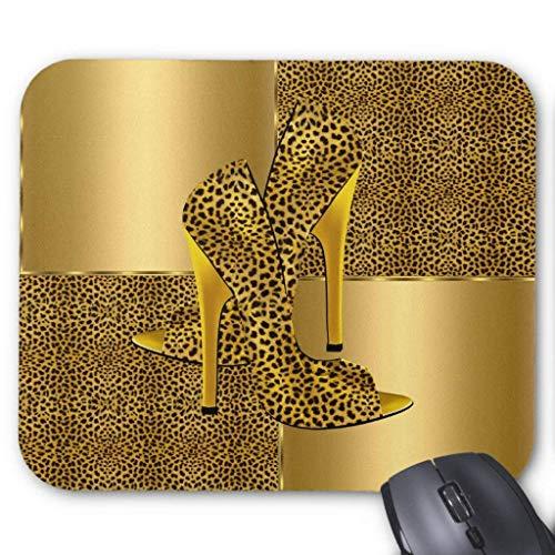 Accesorios de computadora pulsera anti-fricción elegante oro leopardo zapatos de tacón alto Animal Mouse Pad 18X22