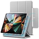 ESR Magnetische Hülle kompatibel mit iPad Pro 12.9 2021 (5.Generation) / 2020 (4.Generation), Auto Schlafen/Wachen, Smart Hülle mit Pencil 2 Unterstützung & Trifold Ständer, Grau