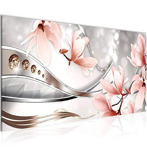 Bilder Blumen Magnolien Wandbild Vlies - Leinwand Bild XXL Format Wandbilder Wohnzimmer Wohnung Deko Kunstdrucke Rosa 1 Teilig - MADE IN GERMANY - Fertig zum Aufhängen 207212a