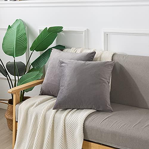 Emooqi Cojines de Terciopelo para Sofa, 45 x 45cm Decoración Cuadrado Fundas de Almohada 2 Piezas Funda Cojin para Cojines para Dormitorio y Sala de Estar Terciopelo Funda de Cojine 18