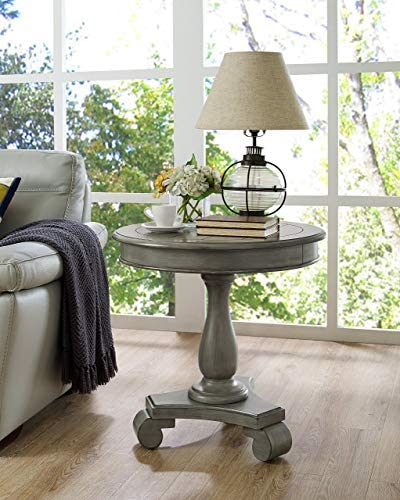 Roundhill Furniture Rene Contemporary Wood Pedestal Side Table Gray product image