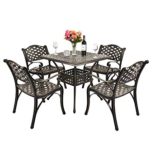 TITIMO 5-Piece Outdoor Furniture Dining Set, All-Weather Cast Aluminum Conversation Set Includes 4 Chairs and 1 Square Table with Umbrella Hole for Patio Garden Deck, Lattice Weave Design