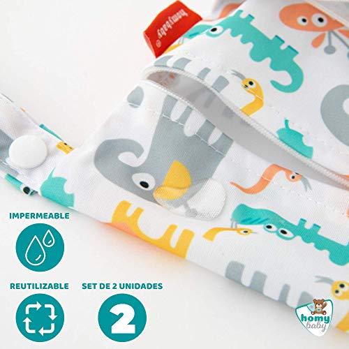 HOMYBABY® Bolsa Impermeable de tela [2pcs]  Organizador de pañales o ropa para guardería y colegio   Neceser viaje, playa, piscina, deporte   Bolsa pañales de tela para bebe   Bolsa merienda infantil