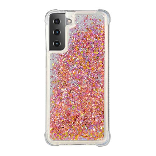 for Xiaomi Redmi Note 9S & Redmi Note 9 Pro Case, Girls Women 3D Glitter Liquid Cute Personalised Shiny Sparkle Quicksand Clear Transparent Silicone TPU Gel Shockproof Protective Cover Gold