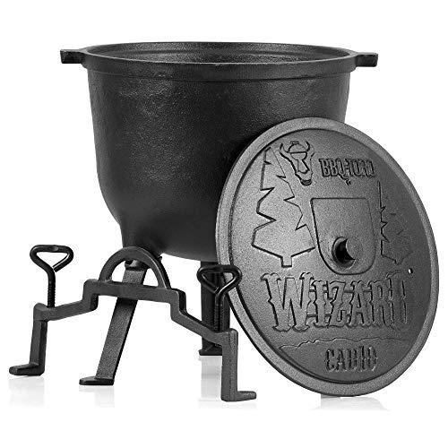 BBQ-Toro Zauberkessel Wizard | Kochtopf aus Gusseisen | Gusstopf mit DREI Beinen, Deckel, Bügel und Feststellschrauben | Hexenkessel (10 Liter)