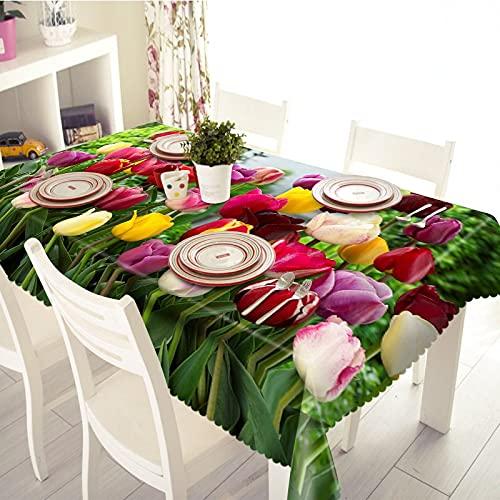 XXDD Mantel de Flores de tulipán Colorido Flor de Girasol Amarillo 3D Mantel Lavable Rectangular a Prueba de Polvo A7 150x210cm