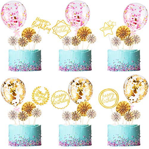 36 Pieces Gold Birthday Cake Topper Set 6 Pieces Happy Birthday Cake Toppers 6 Pieces Confetti Balloon Cake Topper 24 Pieces Fan Cupcake Toppers Cake Decoration Supplies, Various Styles and Colors