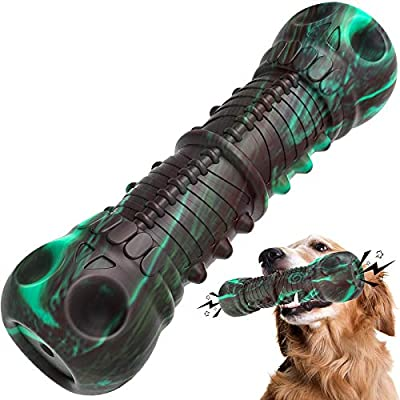 Dog Toys, HETOO Indestructible Tough Squeaky Dog Chew Toy For Aggressive Chewers Large Medium Breed Dog Toothbrush Dental Care