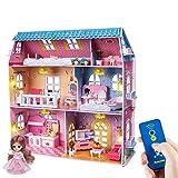 RuiDaXiang Casa delle bambole, con mobili e telecomando luce.6 camere su tre piani, Casa delle bambole giocattolo per bambine 3-6 anni
