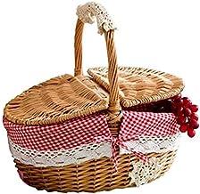 Kamenda Ręcznie wykonany wiklina kosz piknikowy na zakupy, koszyk do przechowywania i uchwyt drewniany wicker piknik