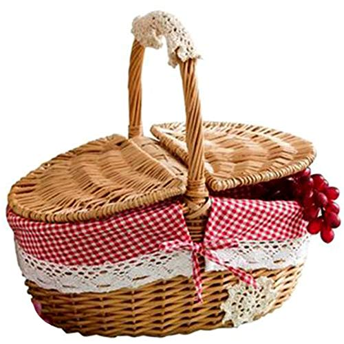 Lopbinte Hand Made Wicker Basket Wicker Camping Picnic Basket Shopping Storage Hamper and Handle Wooden Wicker Picnic Basket