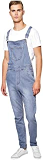 Island Trading Mens Stonewash Blue Designer Denim Dungarees Dungaree Jeans Bib Overalls