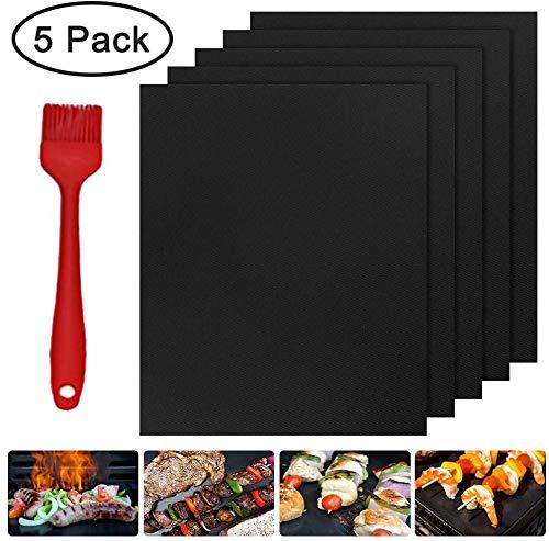 Molbory 5er Set BBQ Grillmatte 40x33cm, Grill Mat mit Bürsten für BBQ und Backen, Antihaft Grill-und Backmatte, Pflegeleicht und Wiederverwendbar, Perfekt für Fleisch, Fisch und Gemüse (PFOA-Frei)