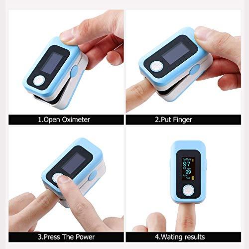 51J3fRBhmxL - Oxímetro de pulso, oxímetro de dedo profesional con pantalla OLED, utilizado para medir SpO2 y PI y PR, lecturas precisas y confiables en tiempo real (azul)