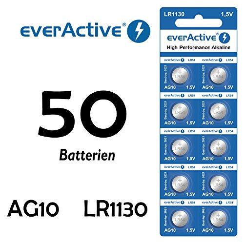 NEMT 50 X Everactive AG10 LR 54 - LR1130 - L1131 - 189 Knopfzelle Uhrenbatterie 1,5 V